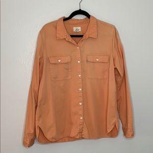Levi's button down peach orange shirt women's XL